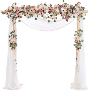 Ling's moment Artificial Flower Arch Decor with Sheer Drape Set of 3 for Wedding