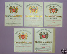 B241/ 5 ÉTIQUETTES VIN POMEROL CHÂTEAU LA CABANNE / 2X1953 SPÉCIMENS / 1955-1964