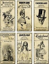 Halloween 6 large Alice in Wonderland scarry Underland bottle apothecary labels