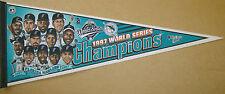 1997 Florida Marlins World Series Baseball Champions Pennant Cartoon Characters