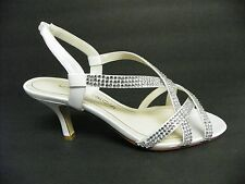 Caparros Shoe Esther Strappy Dress Evening Mid Heel Sandal White Satin Jewel 6M