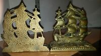 Very Old Pair Brass Cold Pour Sailing Tall Ship Galleon Bookends Super Heavy