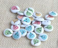 """Lot of 10 HOT AIR BALLOON 2-hole White Wood Buttons 5/8"""" (15mm) Scrapbook (1041)"""
