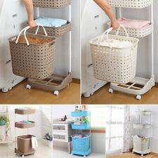 More details for 3tier multi purpose plastic laundry hamper storage basket wheeled cart organizer