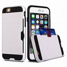 HARD HYBRID METALLIC FUSION CREDIT CARD ID SLOT HOLDER CASE For iPHONE 6S 7 PLUS
