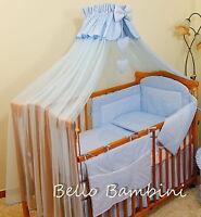 10pcs BABY BEDDING SET /BUMPER/CANOPY /HOLDER/DUVET/CANOPY 4 COT BED or COT BLUE
