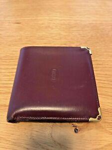 Vintage CARTIER Bifold Leather Wallet Bordeaux/Gold