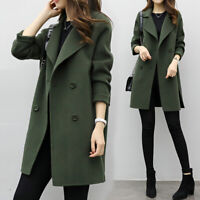 Coat Overcoat Casual Solid Color Warm Double-Breasted Woole Overcoat Soft 2019