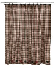 CARSON STAR Shower Curtain Plaid Black/Burgundy Rustic Lodge Primitive Country