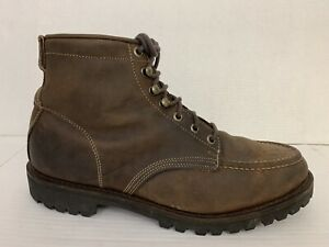 Eddie Bauer Size 14 Brown Leather Work/ Hiking Boots Vibram Soles Insulated