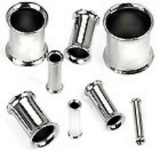 1 x 2g - 6.0mm Double Flared Steel Hollow Flesh Tunnel Body Piercing Jewellery