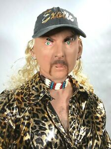 Joe Exotic Mask Tiger Blonde Mullet Hat Moustache 80's King Baskin Accessory