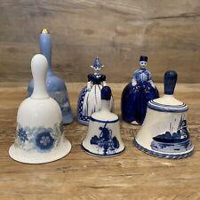 Lot 6 Vintage Bells Delft Wedgwood Currier Ive's Dutch Girl/Boy Windmill etc
