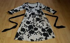 beauitiful black beige floral PAPAYA party evening casual dress size 12