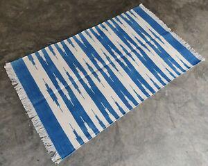 Cotton Rug 3'x5' Handwoven Blue & White Striped Rug Reversible Dhurrie Yoga Rug