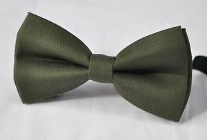 Men Women Dark Olive Green Army Green Cotton Bow Tie Bowtie Wedding Party