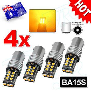 4X BA15S 1156 P21W 2835 15 LED TURN SIGNAL INDICATOR CANBUS BULB GLOBE AMBER AU