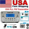 15W PLL FM Transmitter Wireless Radio Broadcast Station Antenna FM 87~108MHz USA