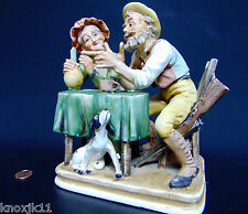 "Norleans Japan Porcelain Hunting Stories 9"" FIGURINE Old Man Lady Dog Gun Table"