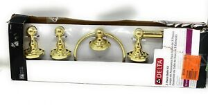 """Delta 3 Piece Bath Kit Polished Brass 24"""" Towel Bar, Towel Ring TP Holder 138285"""