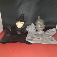 Vtg Hand Puppet Wizard Of Oz Witch Green Eyes Black Hat/Tin Man