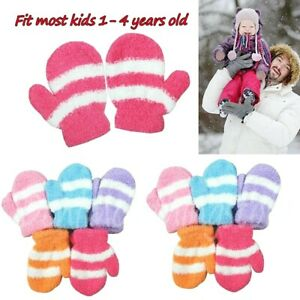 12 Pairs Children Girl Stripped Fuzzy Cozy Mittens Warm Magic Winter Gloves Lot