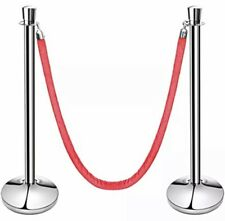 Tulip Top Stainless Steel Stanchions, Set Of 2 Posts With Red Strap (54743)
