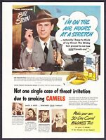 1950 Famous Sportscaster Bill Stern photo Camels Cigarettes vintage print ad