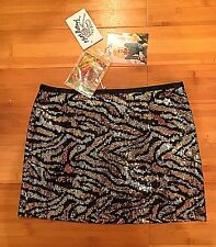 Vtg. Betsey Johnson Sparkly Sequin Skirt Sz 2 Black, Gold, Silver New W Tags