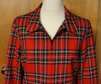 Pendlelton Vintage Red Plaid Virgin Wool Lined Zipper Blazer Jacket, Size 12