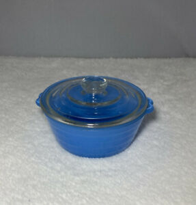 Vintage Phoenix Glass Dish With Lid, Small Casserole Style, Blue