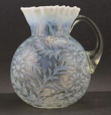 VINTAGE FENTON OPALESCENT LIGHT BLUE to WHITE FERN & DAISY PITCHER