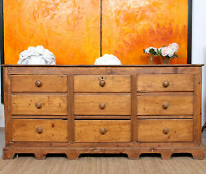Antique Pine Dresser Base 19th Century Chest of Drawers Sideboard Stripped