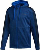 adidas Mens M L XL XXL Tech Perfomance Full Zip Fleece Track Jacket Hoodie Black