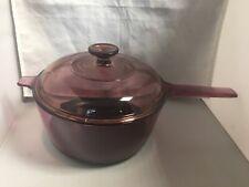 Visions 2.5 L Cranberry Pyrex Glass Corning Saucepan Pot & Lid Teflon Cookware