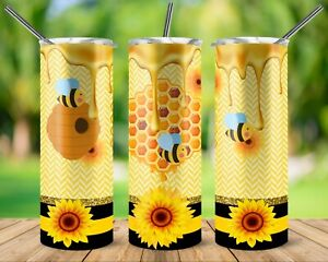 Personalized Tumbler Bottle Stainless Steel Hot Cold Honeycomb Bee Sunflower