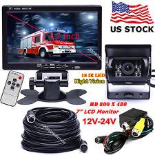 "4Pin 12V-24V 7"" LCD Monitor Parking Rear View Kit +Bus Truck IR Reversing Camera"