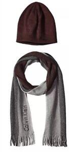 NWT Calvin Klein hat & Scarf Set. Burgundy. Unisex. Logo details MRSP $80.00