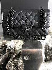 NWT CHANEL 2017 Classic Medium Flap SO BLACK Calf Caviar Iridescent RARE JUMBO