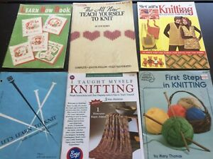Vintage Lot Teach Yourself to Knit Knitting Instruction Beginning Books Patterns