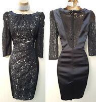 10 UK Karen Millen Black Satin Lace Applique Pencil Dress Occasion Party Races