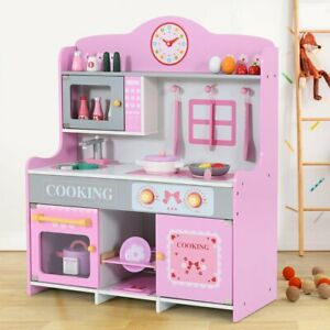 Pink Wooden Pretend Play Toy Kitchen for Kids Role Play Imaginative Playtime Set