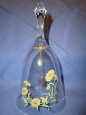 "1980's Vintage Avon 24% Full Lead Crystal 6"" Bell w/Calendula Flower Accents"