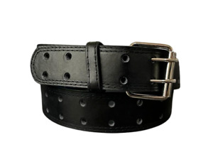 Men's Genuine Leather Two Hole Double Prong Fastener Silver Buckle Dressy Casual
