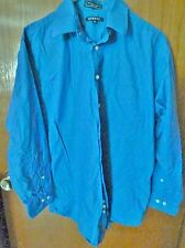 Men's George Blue Button Down Long Sleeve Shirt Size 16 32/33 100% Cotton Poplin