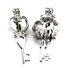 21670 2X/lot Wholesale Silver Leaf Tools Key Locket Pearl Bead Cage Open Pendant
