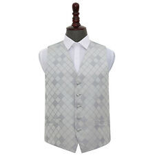 DQT New Jacquard Diamond Pattern Suit Dress Vest Wedding Prom Men's Waistcoat