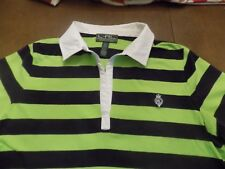 LAUREN RALPH LAUREN ACTIVE SHIRT LIME & NAVY STRIPE WITH CHEST LOGO WHITE COLLAR