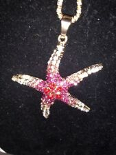 Betsey Johnson Necklace Red Pink Ombré Crystal Gold Starfish Gift Box Bag