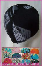 Kids 4 - 14 yrs LYCRA SWIMMING CAP - BLACK & GREY DESIGNER Childs Swim Hat - NEW